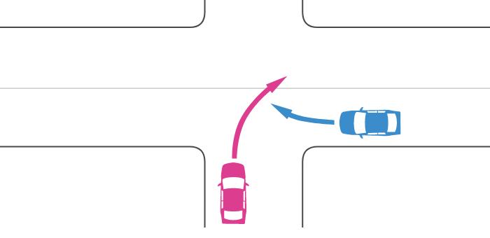 信号機のない十字路交差点に非優先道路から右折した車とその右の優先道路から右折した車の事故