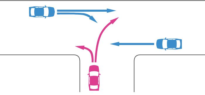 ほぼ同幅員の丁字路交差点に突き当たり路と直線路から入ってきた車同士の事故