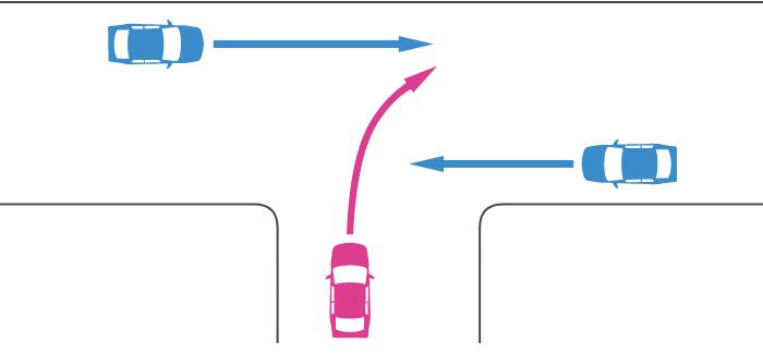 ほぼ同幅員の丁字路交差点に突き当たり路から右折する車と直線路から直進する車の事故