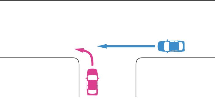 ほぼ同幅員の丁字路交差点に突き当たり路から左折する車と直線路から直進する車の事故