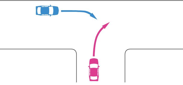 ほぼ同幅員の丁字路交差点に突き当たり路から右折する車と直線路から右折する車の事故