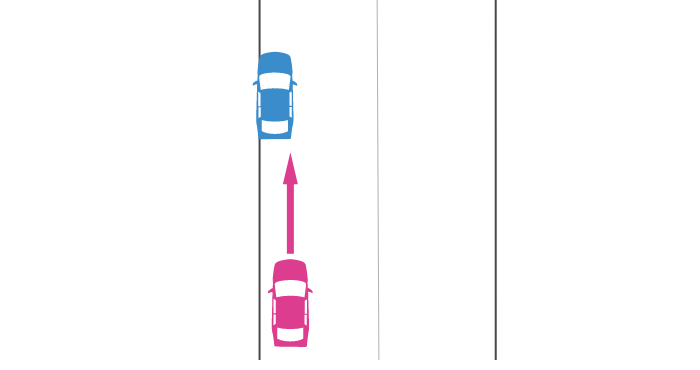 一般道での駐停車中の追突事故