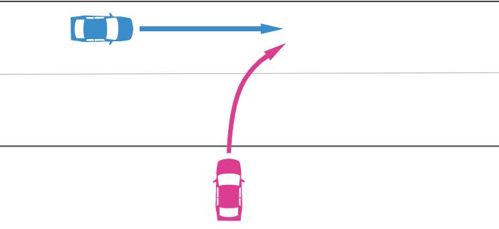 進入車が道路外から道路に右折して進入し、その左から直進車が走行してきた事故