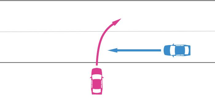進入車が道路外から道路に右折して進入し、その右から直進車が走行してきた事故