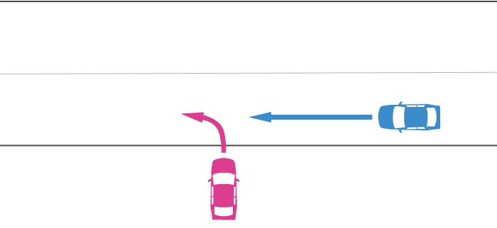 進入車が道路外から道路に左折して進入し、その右から直進車が走行してきた事故