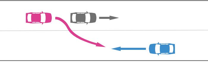 対向車が他車を追い越すときに中央線を越えてきた事故