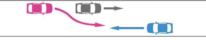 対向車が他車を追い越すときに道路中央を越えてきた事故