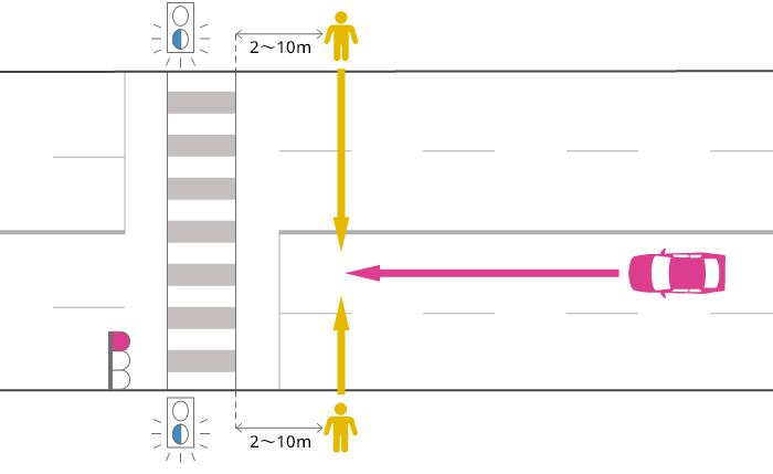 片側2車線以上の道路を直進する車が、赤信号で横断歩道の手前2~10mまで進行し、黄(青点滅)信号で横断中の歩行者に被害を負わせた事故