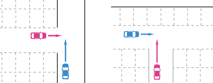 駐車場の丁字路での出合い頭事故