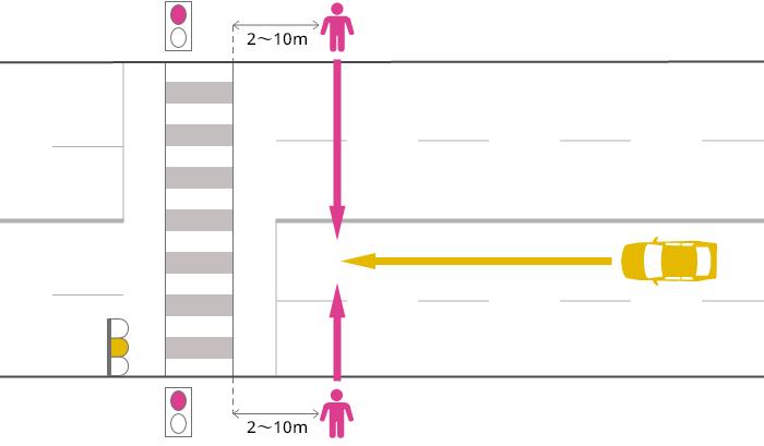 片側2車線以上の道路を直進する車が、黄信号で横断歩道の手前2~10mまで進行し、赤信号で横断中の歩行者に被害を負わせた事故
