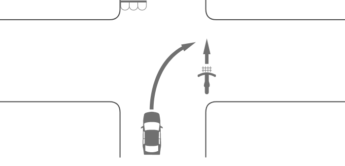 信号機のある交差点で横断中の自転車とその後方の道路から右折した車の事故