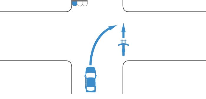 交差点を横断する自転車の信号が青、その後方の道路から右折した車の信号も青の事故