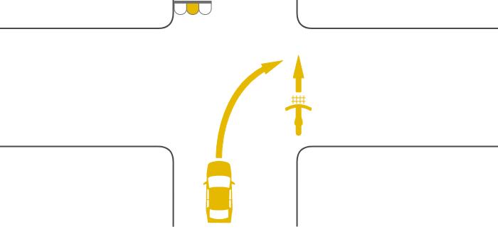 交差点を横断する自転車の信号が黄、その後方の道路から右折した車の信号も黄の事故