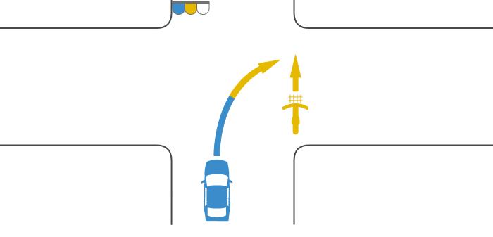 自転車が黄信号で交差点を横断し、その後方の道路から車が青信号で交差点に入ってきて黄信号で右折した事故