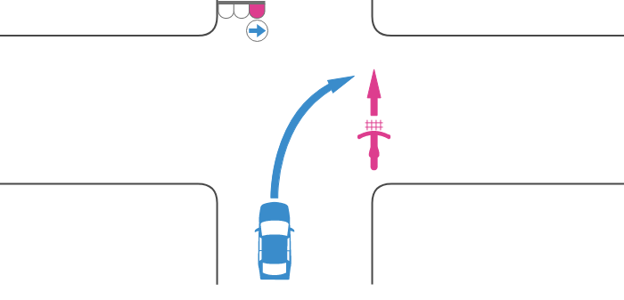 交差点を横断する自転車の信号が赤、その後方の道路から右折した車の信号が右の青矢印の事故
