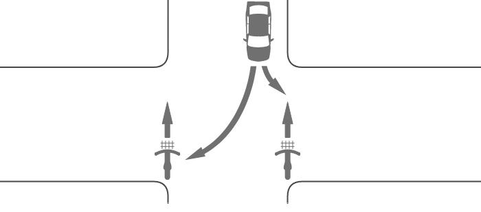 信号機のない交差点を横断中の自転車と対向する左折車または右折車の事故