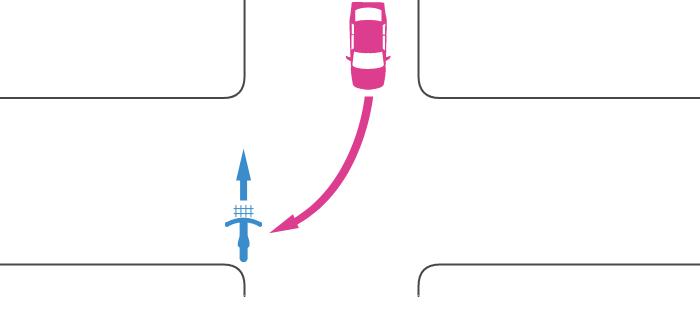 信号機のない交差点を横断中の自転車と対向する右折車の事故