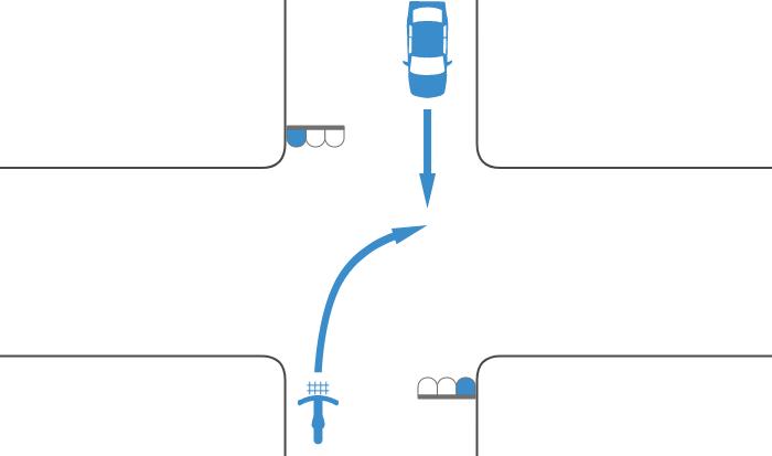 二段階右折を怠って青信号で右折する自転車と青信号で直進する対向車の事故
