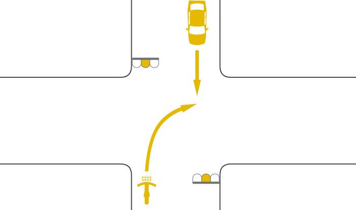 二段階右折を怠って黄信号で右折する自転車と黄信号で直進する対向車の事故