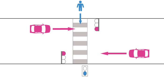 青信号で横断歩道を渡る歩行者と赤信号を無視した直進車の事故